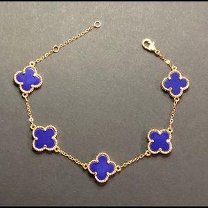 Jewelry - Blue 925 Sterling Silver Clover 18K Gold Bracelet